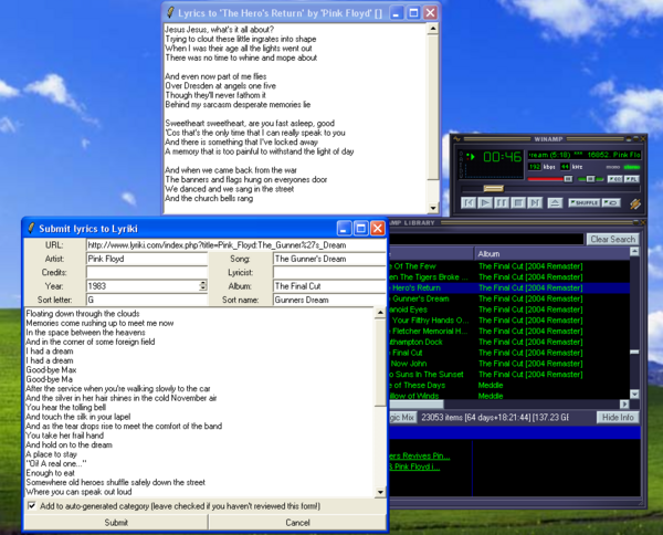 Lyriki-Lyrics running from Winamp (Tk toolkit)